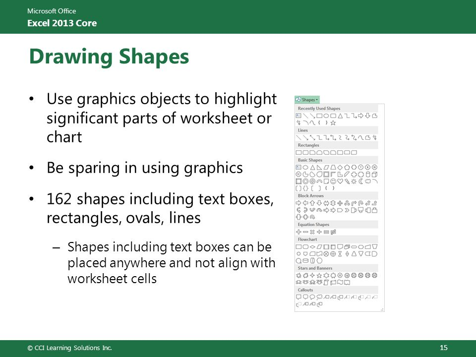 Microsoft Office Excel 2013 Core Drawing Shapes Use graphics objects to highlight significant parts of worksheet or chart Be sparing in using graphics
