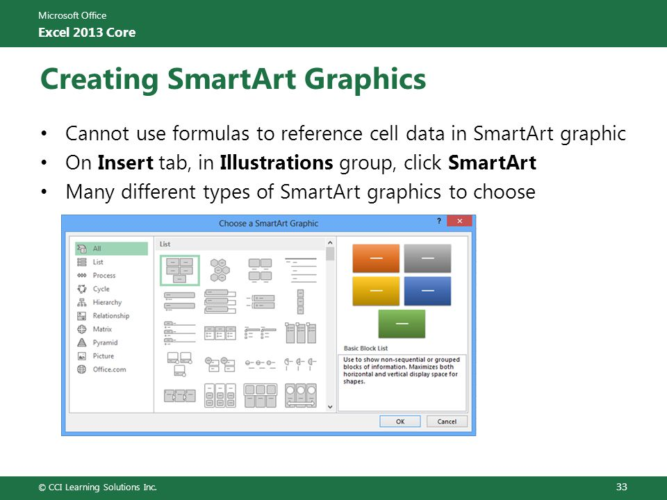 Microsoft Office Excel 2013 Core Creating SmartArt Graphics Cannot use formulas to reference cell data in SmartArt graphic On Insert tab, in Illustrat