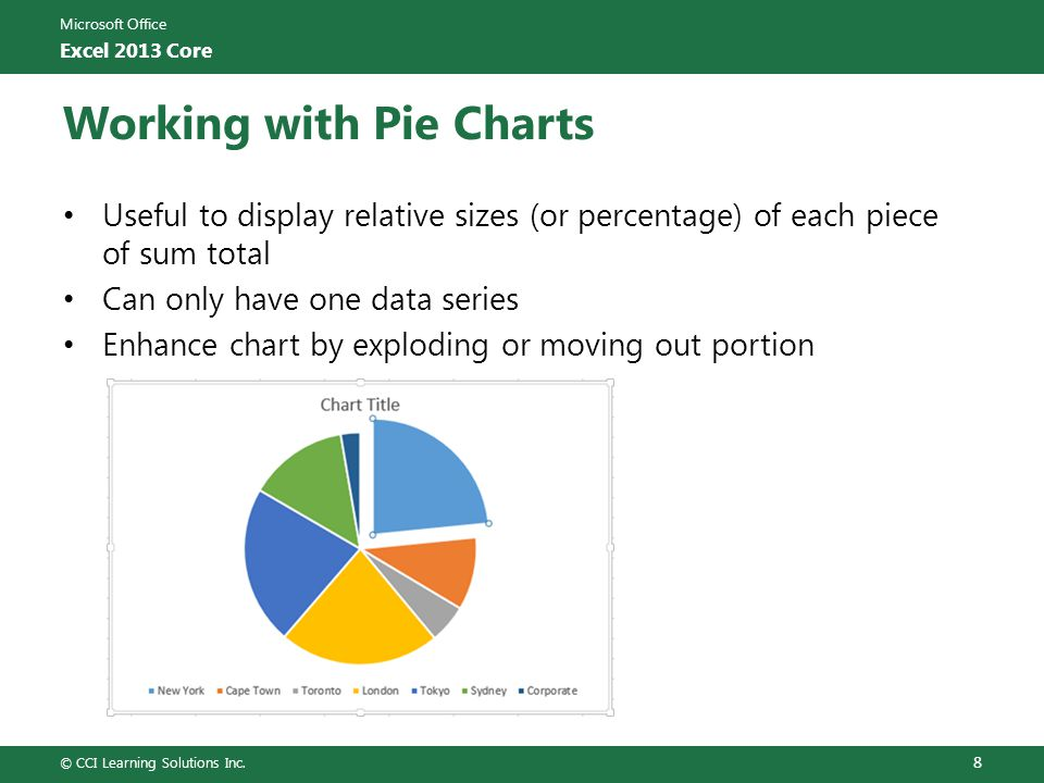 Microsoft Office Excel 2013 Core Working with Pie Charts Useful to display relative sizes (or percentage) of each piece of sum total Can only have one
