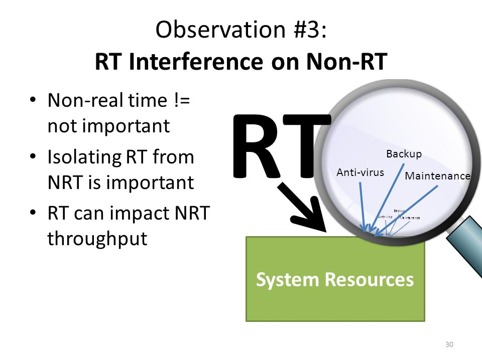 System Resources Observation #3: RT Interference on Non-RT Non-real time != not important Isolating RT from NRT is important RT can impact NRT throughput 30 RT Anti-virus Backup Maintenance