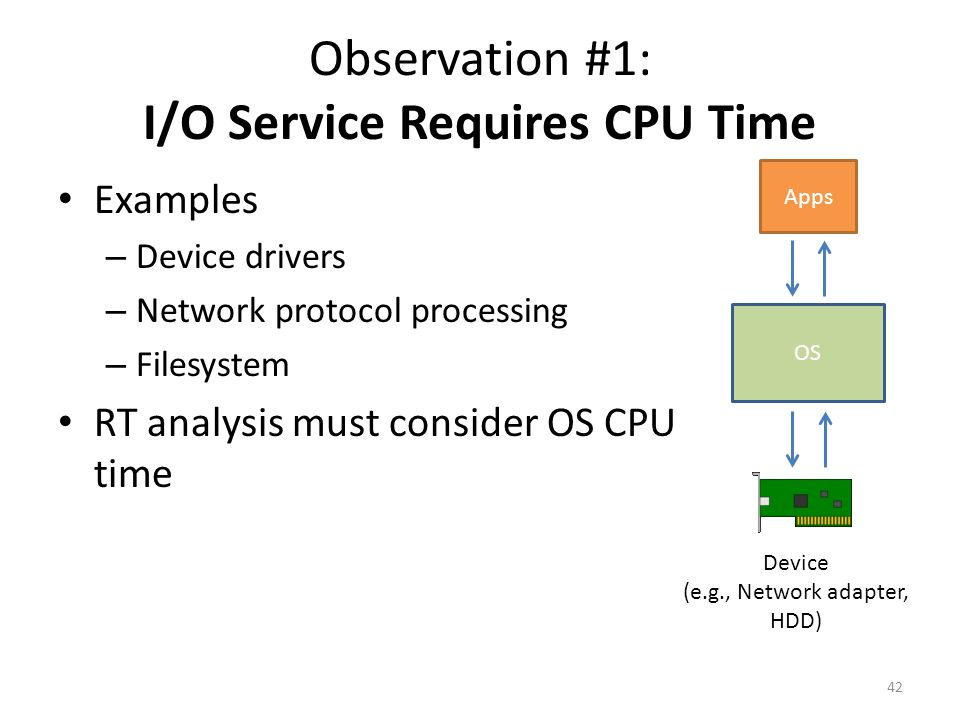 Observation #1: I/O Service Requires CPU Time Examples – Device drivers – Network protocol processing – Filesystem RT analysis must consider OS CPU time 42 Apps Device (e.g., Network adapter, HDD) OS