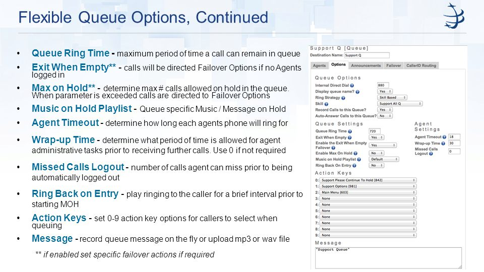 Flexible Queue Options, Continued Queue Ring Time - maximum period of time a call can remain in queue Exit When Empty** - calls will be directed Failover Options if no Agents logged in Max on Hold** - determine max # calls allowed on hold in the queue.