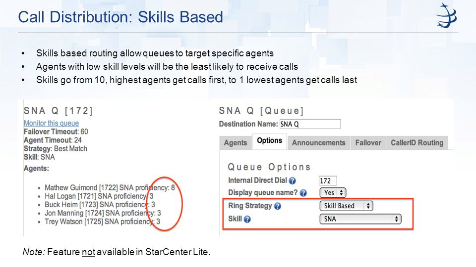 Call Distribution: Skills Based Skills based routing allow queues to target specific agents Agents with low skill levels will be the least likely to receive calls Skills go from 10, highest agents get calls first, to 1 lowest agents get calls last Note: Feature not available in StarCenter Lite.