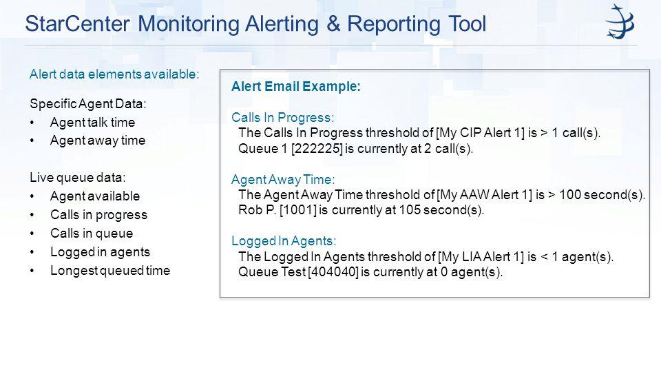 StarCenter Monitoring Alerting & Reporting Tool Alert Email Example: Calls In Progress: The Calls In Progress threshold of [My CIP Alert 1] is > 1 call(s).
