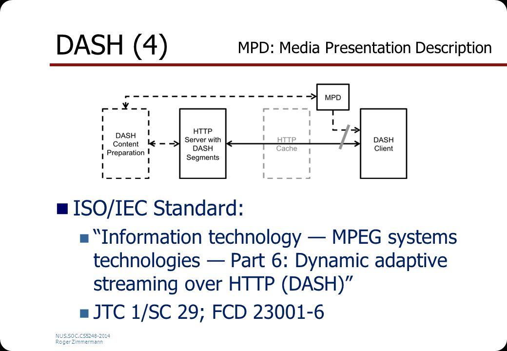 "NUS.SOC.CS5248-2014 Roger Zimmermann DASH (4) ISO/IEC Standard: ""Information technology — MPEG systems technologies — Part 6: Dynamic adaptive streami"