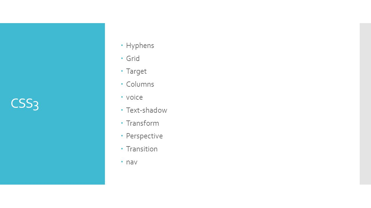 CSS3  Hyphens  Grid  Target  Columns  voice  Text-shadow  Transform  Perspective  Transition  nav