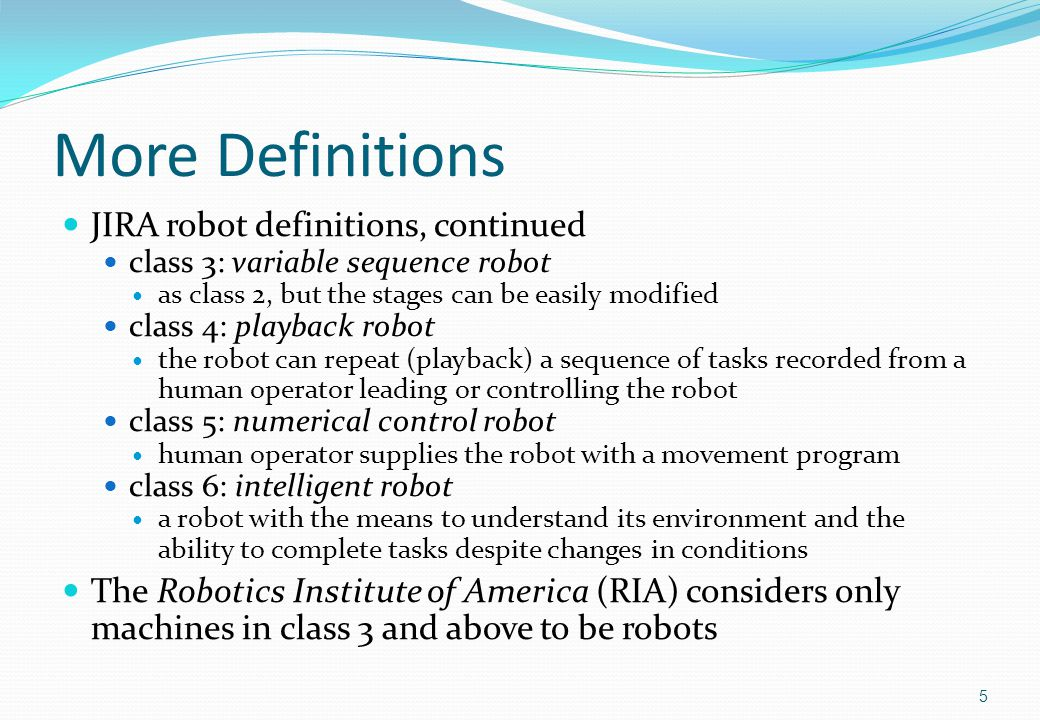 Environment Types There are many different types of environment in which a robot may be required to operate Environments are typically categorised by their degree of structure Although there is no solidly accepted definition of structures, environments can be split into one of the following categories structured partially structured unstructured 16