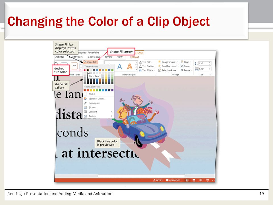 Reusing a Presentation and Adding Media and Animation19 Changing the Color of a Clip Object