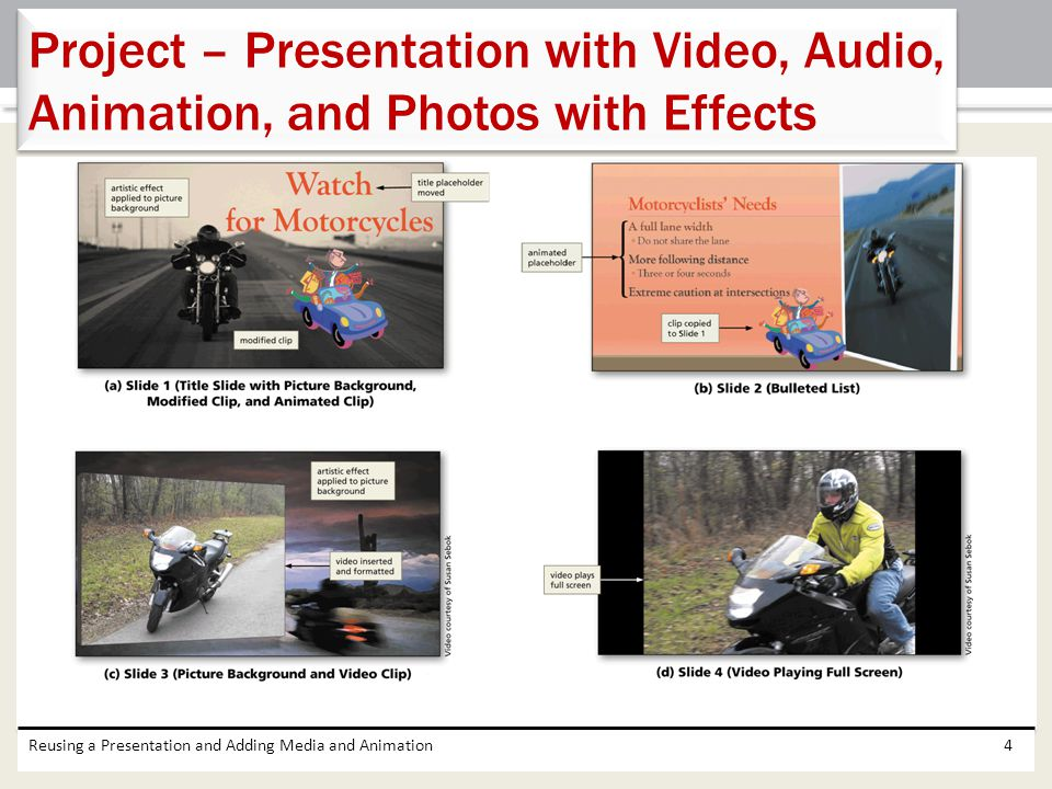 Reusing a Presentation and Adding Media and Animation4 Project – Presentation with Video, Audio, Animation, and Photos with Effects