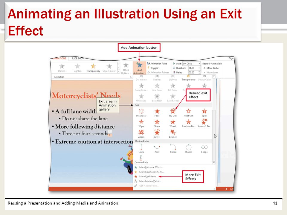 Reusing a Presentation and Adding Media and Animation41 Animating an Illustration Using an Exit Effect