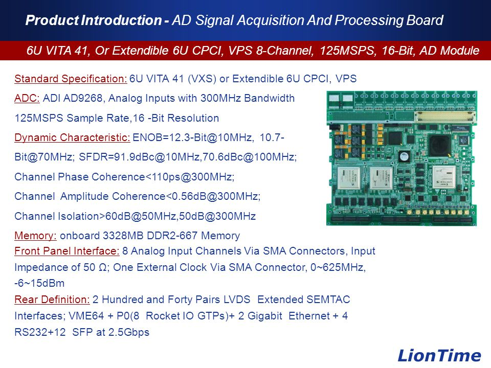 Company Logo www.themegallery.com Product Introduction - AD Signal Acquisition And Processing Board 6U VITA 41, Or Extendible 6U CPCI, VPS 8-Channel,