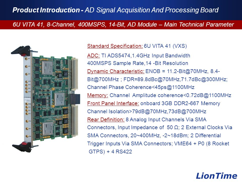 Company Logo www.themegallery.com Product Introduction - AD Signal Acquisition And Processing Board 6U VITA 41, 8-Channel, 400MSPS, 14-Bit, AD Module