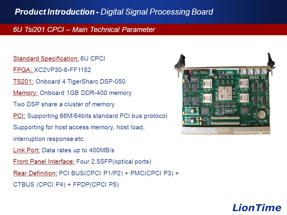 Company Logo www.themegallery.com Product Introduction - Digital Signal Processing Board 6U Tsi201 CPCI – Main Technical Parameter LionTime Standard S