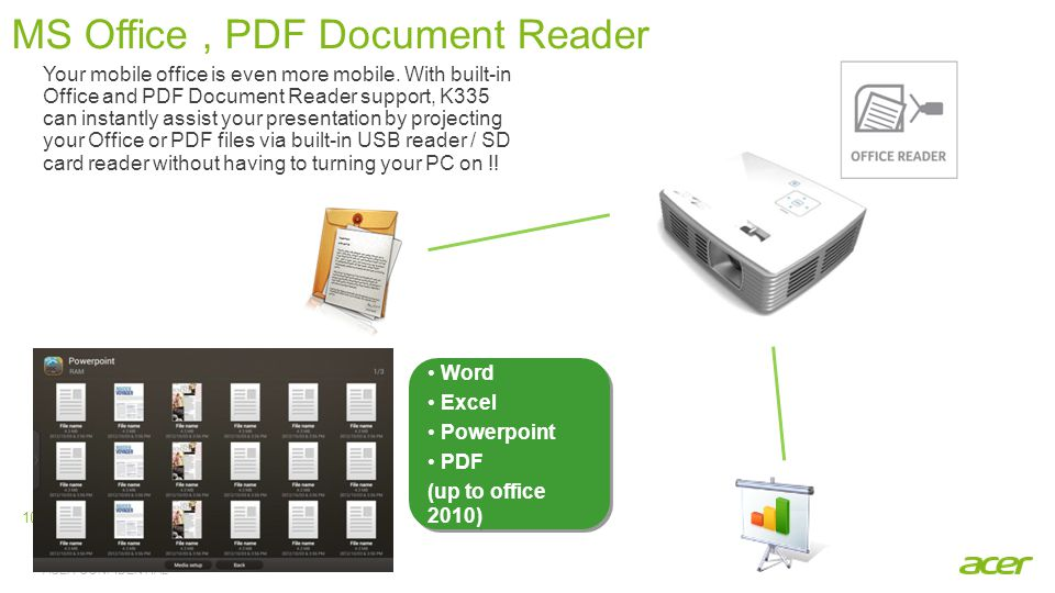 ACER CONFIDENTIAL 10 MS Office, PDF Document Reader Word Excel Powerpoint PDF (up to office 2010) Word Excel Powerpoint PDF (up to office 2010) Your m