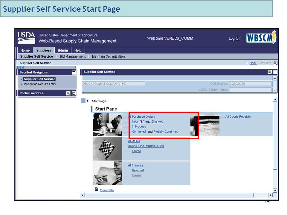 14 Supplier Self Service Start Page