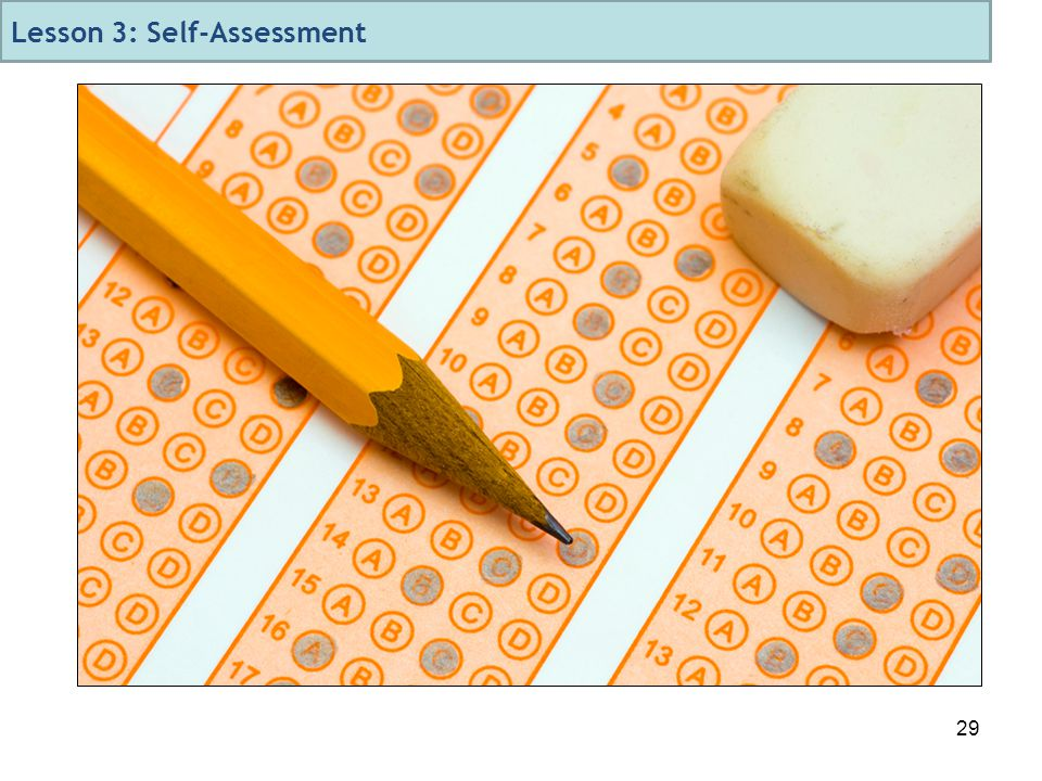 29 Lesson 3: Self-Assessment