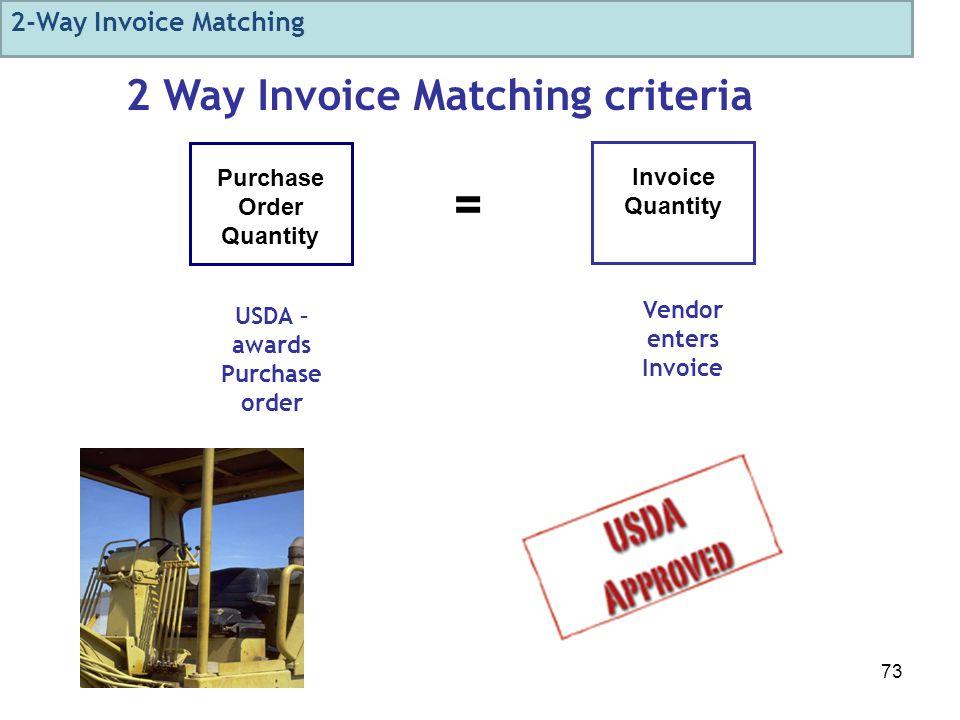 73 Purchase Order Quantity Invoice Quantity = 2 Way Invoice Matching criteria Vendor enters Invoice USDA – awards Purchase order 2-Way Invoice Matching