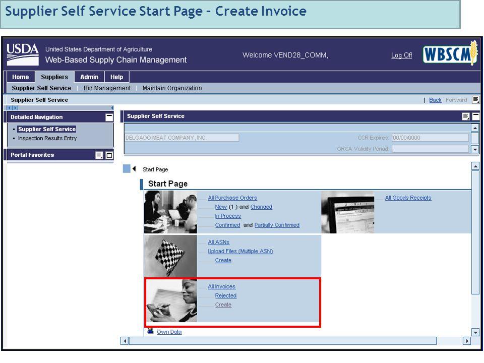 79 Supplier Self Service Start Page – Create Invoice