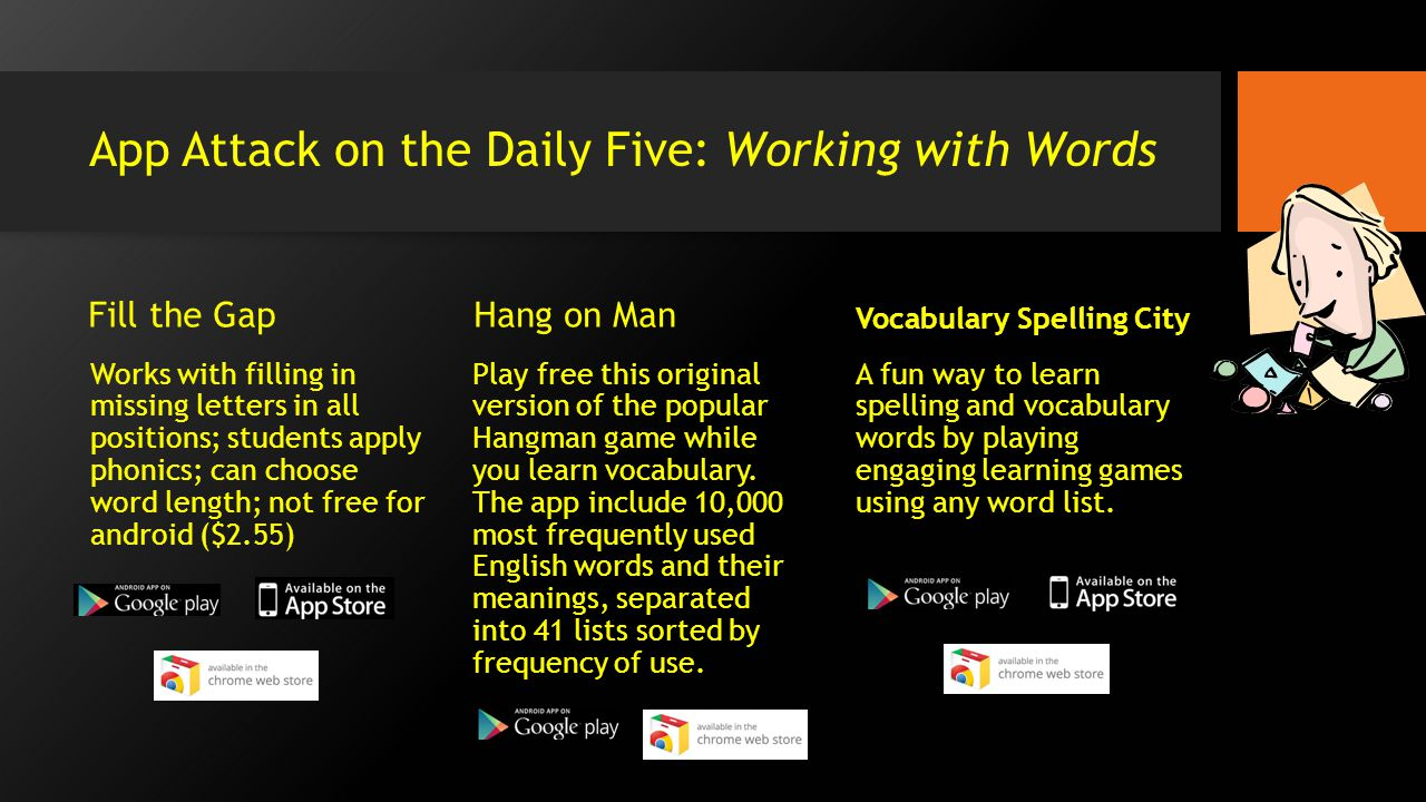 App Attack on the Daily Five: Working with Words Fill the Gap Works with filling in missing letters in all positions; students apply phonics; can choose word length; not free for android ($2.55) Hang on Man Play free this original version of the popular Hangman game while you learn vocabulary.