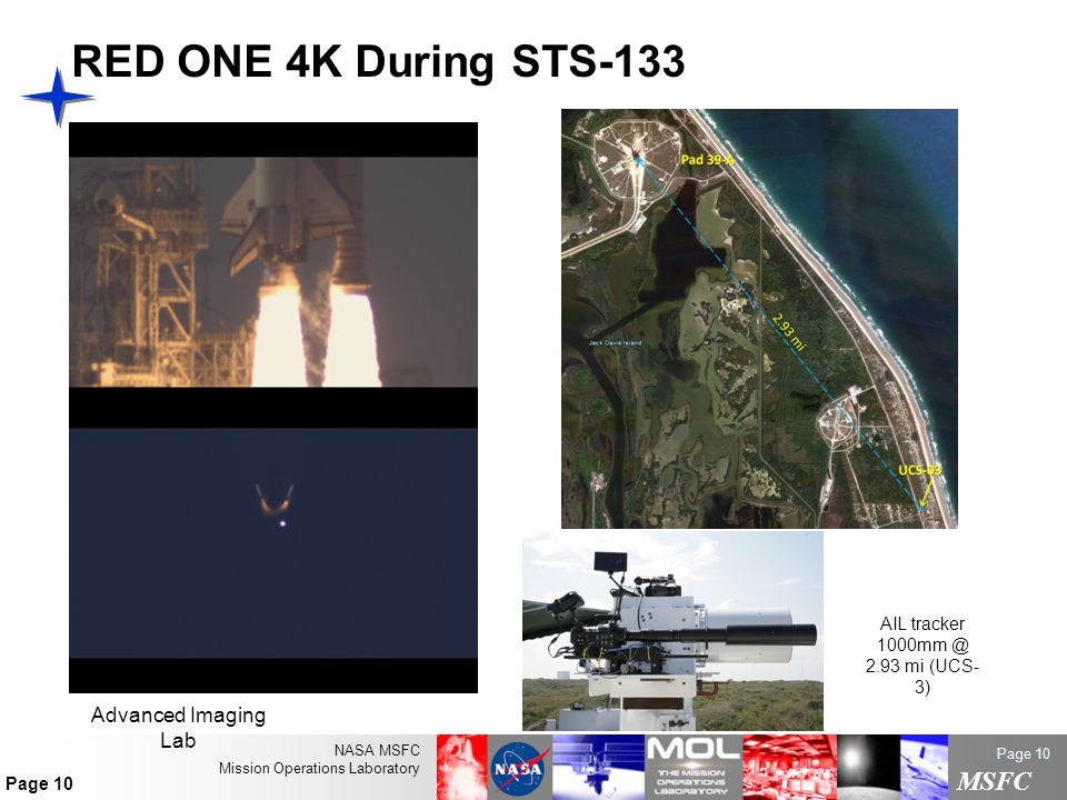 NASA MSFC Mission Operations Laboratory MSFC Page 10 RED ONE 4K During STS-133 AIL tracker 1000mm @ 2.93 mi (UCS- 3) Advanced Imaging Lab