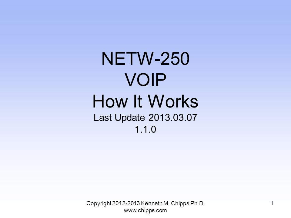 NETW-250 VOIP How It Works Last Update 2013.03.07 1.1.0 Copyright 2012-2013 Kenneth M.