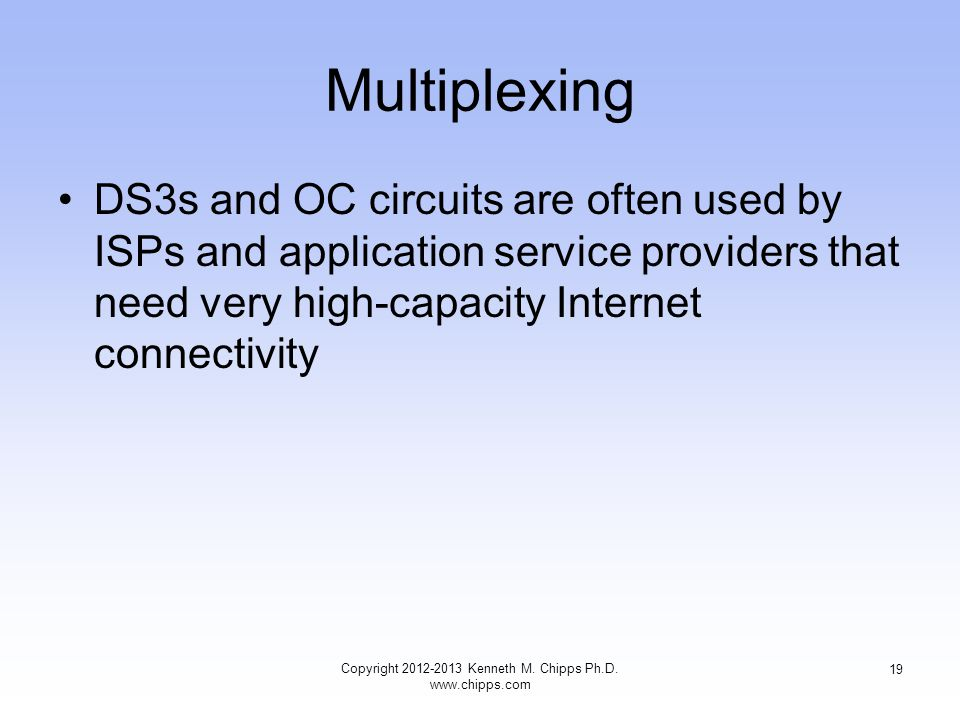 Multiplexing DS3s and OC circuits are often used by ISPs and application service providers that need very high-capacity Internet connectivity Copyright 2012-2013 Kenneth M.