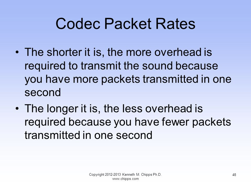 Codec Packet Rates The shorter it is, the more overhead is required to transmit the sound because you have more packets transmitted in one second The longer it is, the less overhead is required because you have fewer packets transmitted in one second Copyright 2012-2013 Kenneth M.