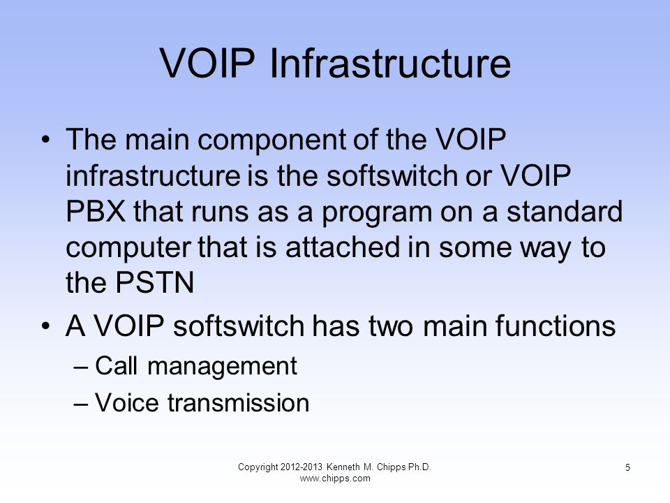 VOIP Infrastructure The main component of the VOIP infrastructure is the softswitch or VOIP PBX that runs as a program on a standard computer that is attached in some way to the PSTN A VOIP softswitch has two main functions –Call management –Voice transmission Copyright 2012-2013 Kenneth M.