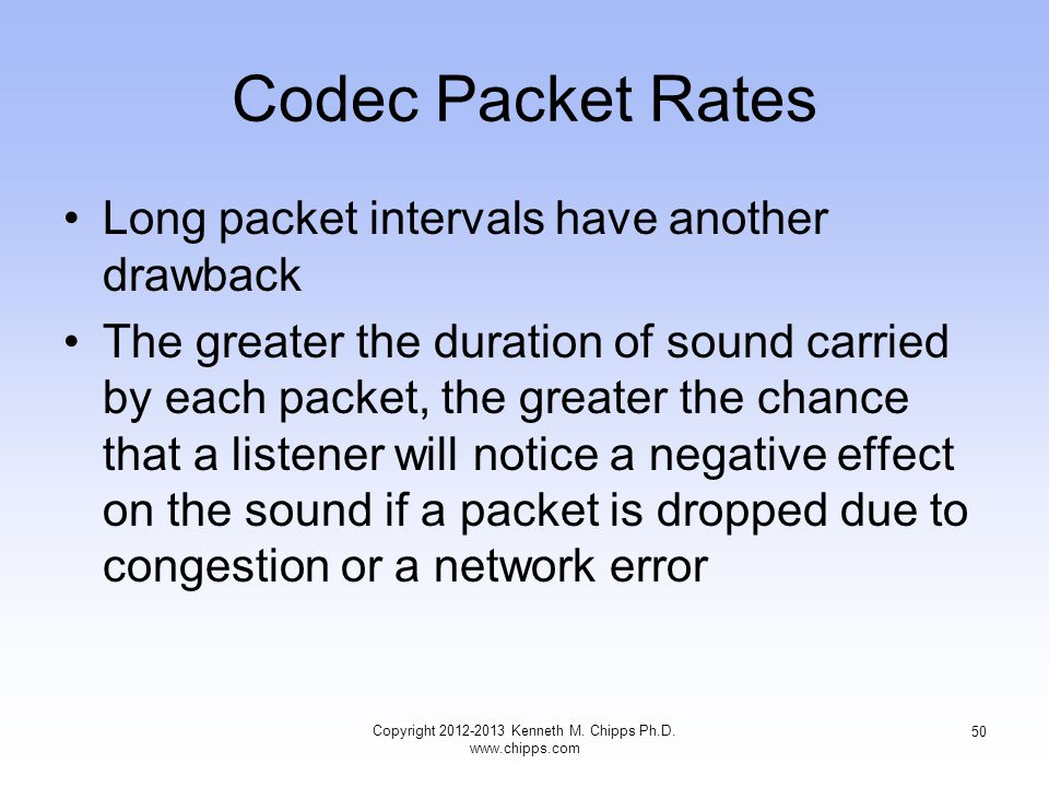Codec Packet Rates Long packet intervals have another drawback The greater the duration of sound carried by each packet, the greater the chance that a listener will notice a negative effect on the sound if a packet is dropped due to congestion or a network error Copyright 2012-2013 Kenneth M.
