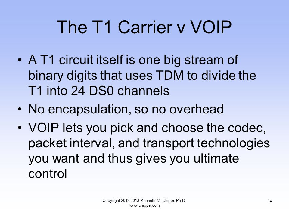 The T1 Carrier v VOIP A T1 circuit itself is one big stream of binary digits that uses TDM to divide the T1 into 24 DS0 channels No encapsulation, so no overhead VOIP lets you pick and choose the codec, packet interval, and transport technologies you want and thus gives you ultimate control Copyright 2012-2013 Kenneth M.