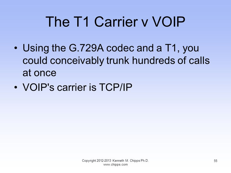 The T1 Carrier v VOIP Using the G.729A codec and a T1, you could conceivably trunk hundreds of calls at once VOIP s carrier is TCP/IP Copyright 2012-2013 Kenneth M.