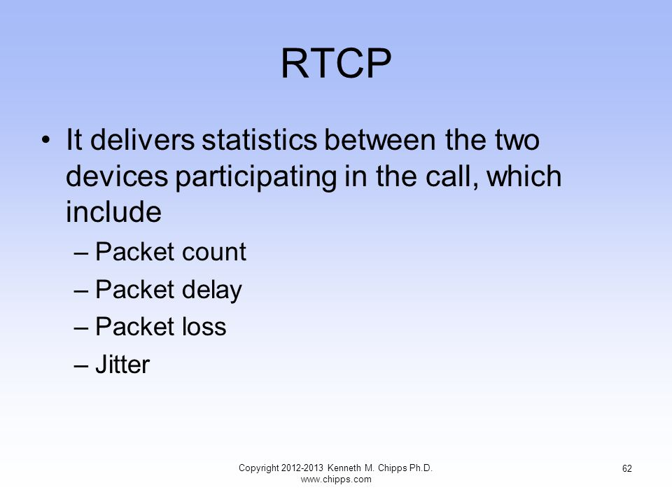 RTCP It delivers statistics between the two devices participating in the call, which include –Packet count –Packet delay –Packet loss –Jitter Copyright 2012-2013 Kenneth M.