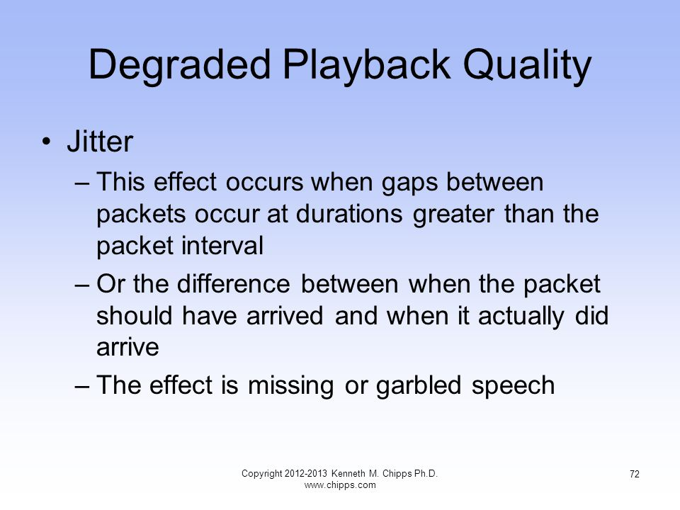Degraded Playback Quality Jitter –This effect occurs when gaps between packets occur at durations greater than the packet interval –Or the difference between when the packet should have arrived and when it actually did arrive –The effect is missing or garbled speech Copyright 2012-2013 Kenneth M.