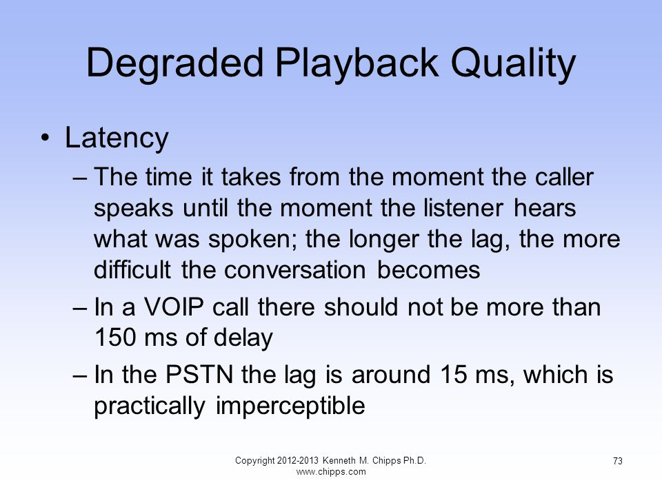 Degraded Playback Quality Latency –The time it takes from the moment the caller speaks until the moment the listener hears what was spoken; the longer the lag, the more difficult the conversation becomes –In a VOIP call there should not be more than 150 ms of delay –In the PSTN the lag is around 15 ms, which is practically imperceptible Copyright 2012-2013 Kenneth M.