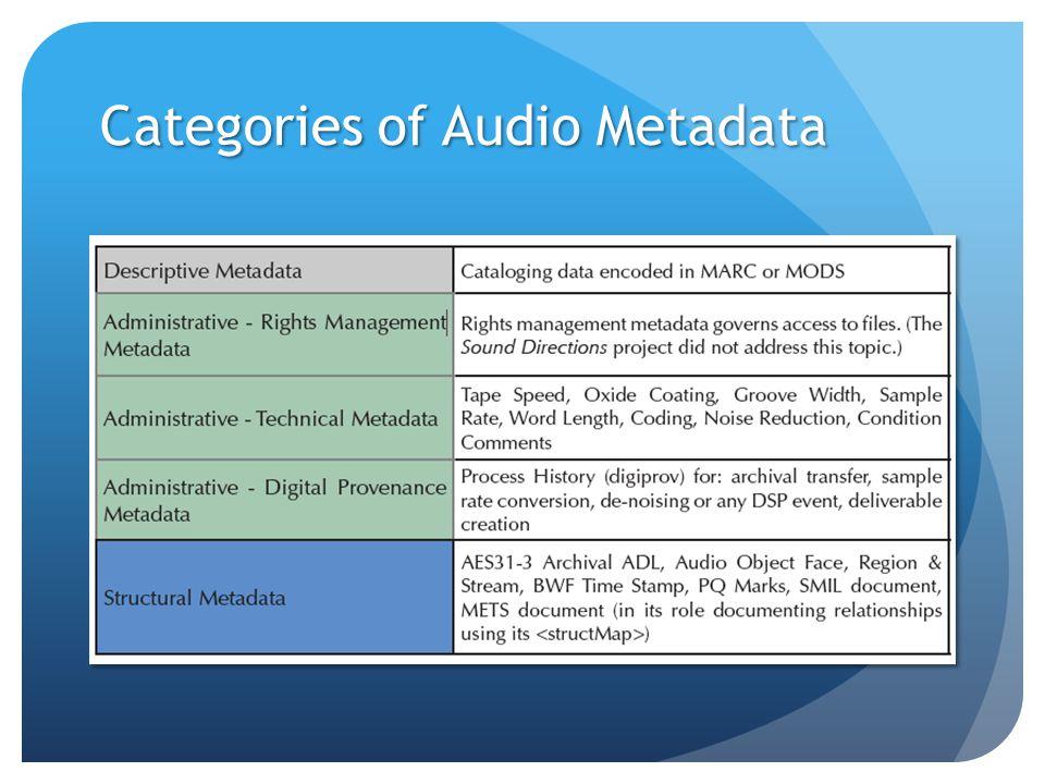 Categories of Audio Metadata