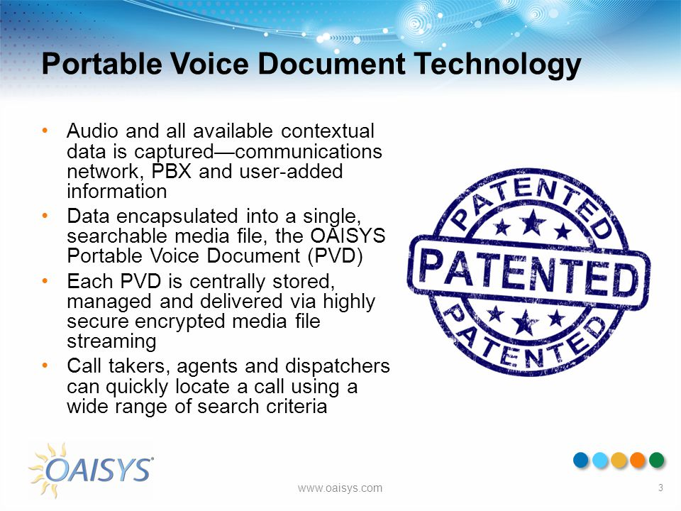 Portable Voice Document Technology Audio and all available contextual data is captured—communications network, PBX and user-added information Data enc