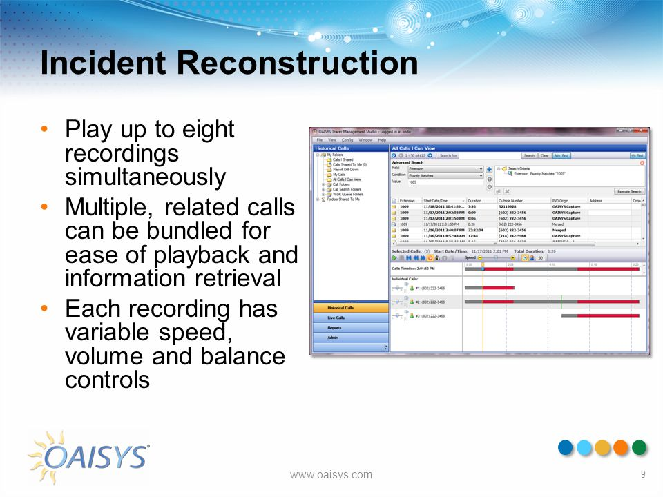 Incident Reconstruction Play up to eight recordings simultaneously Multiple, related calls can be bundled for ease of playback and information retriev