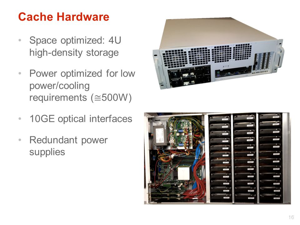 Cache Hardware Space optimized: 4U high-density storage Power optimized for low power/cooling requirements ( ≅ 500W) 10GE optical interfaces Redundant power supplies 16