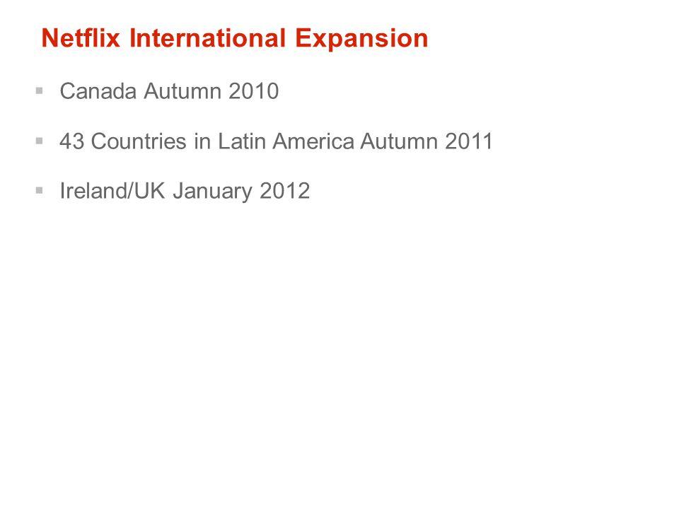 Netflix International Expansion  Canada Autumn 2010  43 Countries in Latin America Autumn 2011  Ireland/UK January 2012