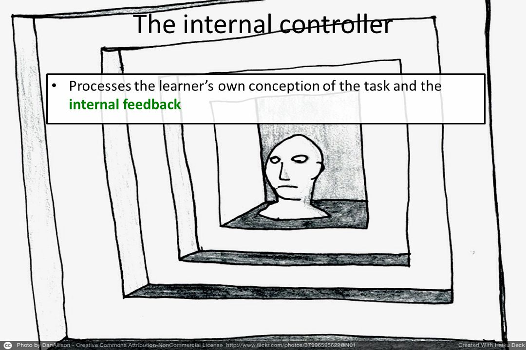 Processes the learner's own conception of the task and the internal feedback