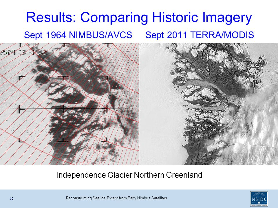 Reconstructing Sea Ice Extent from Early Nimbus Satellites Sept 1964 NIMBUS/AVCS Sept 2011 TERRA/MODIS 10 Results: Comparing Historic Imagery Independence Glacier Northern Greenland