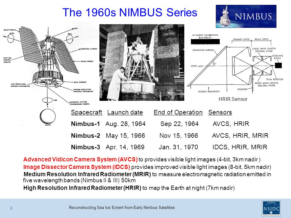 Reconstructing Sea Ice Extent from Early Nimbus Satellites The 1960s NIMBUS Series 2 Spacecraft Launch date End of Operation Sensors Nimbus-1 Aug.