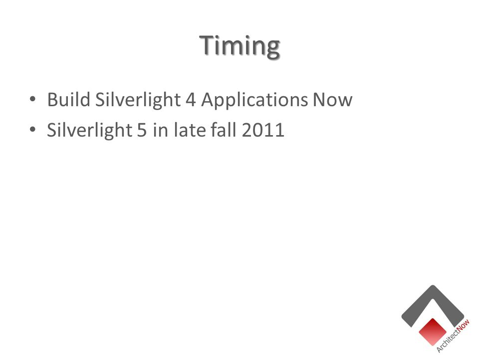 Timing Build Silverlight 4 Applications Now Silverlight 5 in late fall 2011