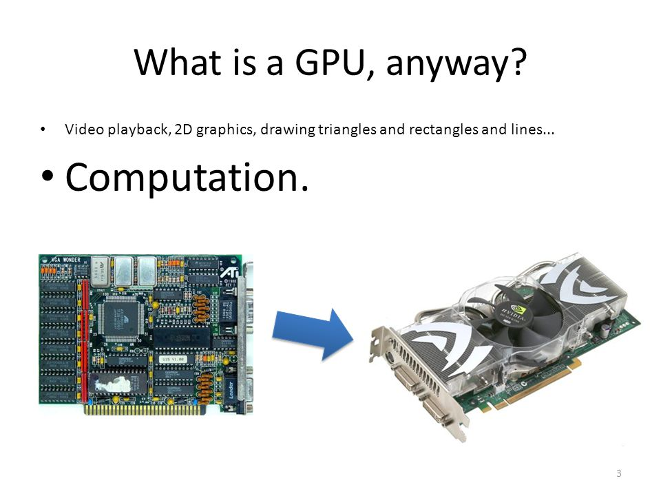 What is a GPU, anyway. Video playback, 2D graphics, drawing triangles and rectangles and lines...