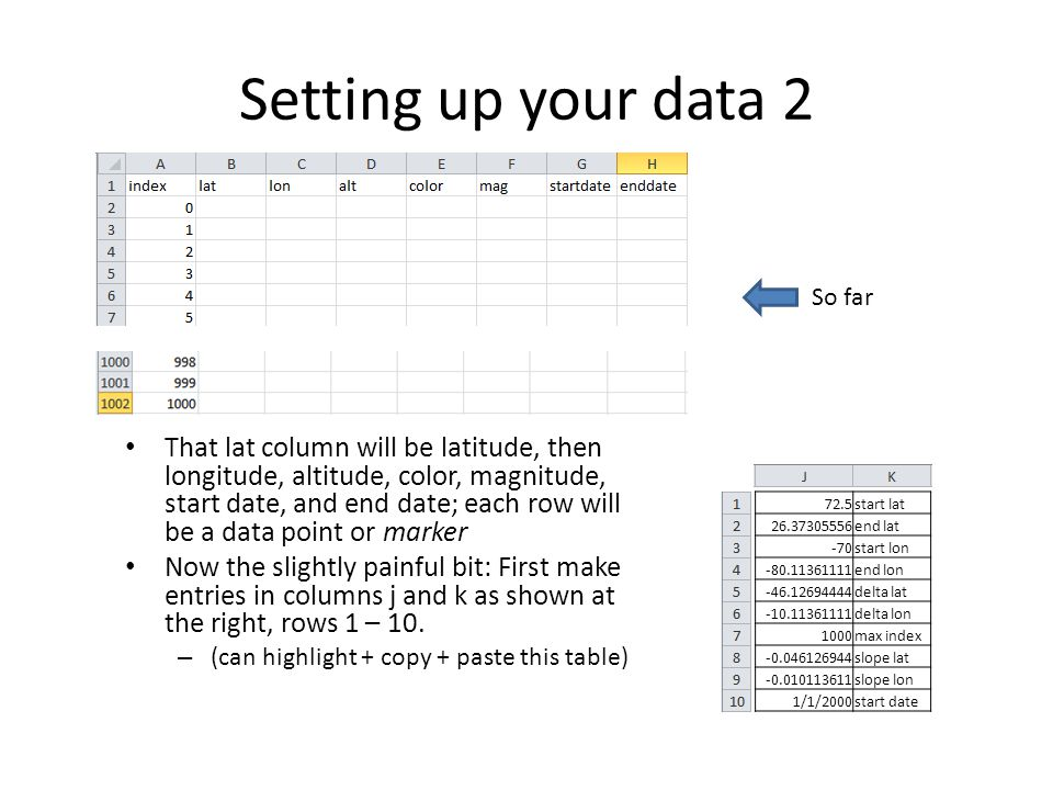 Setting up your data 2 That lat column will be latitude, then longitude, altitude, color, magnitude, start date, and end date; each row will be a data