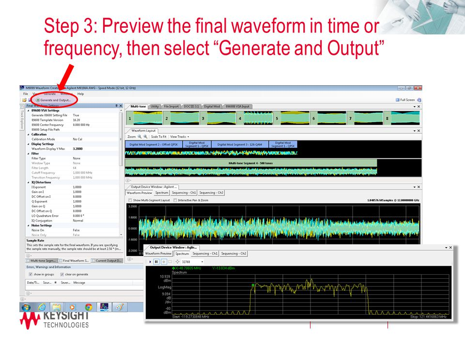 """Page Step 3: Preview the final waveform in time or frequency, then select """"Generate and Output"""""""