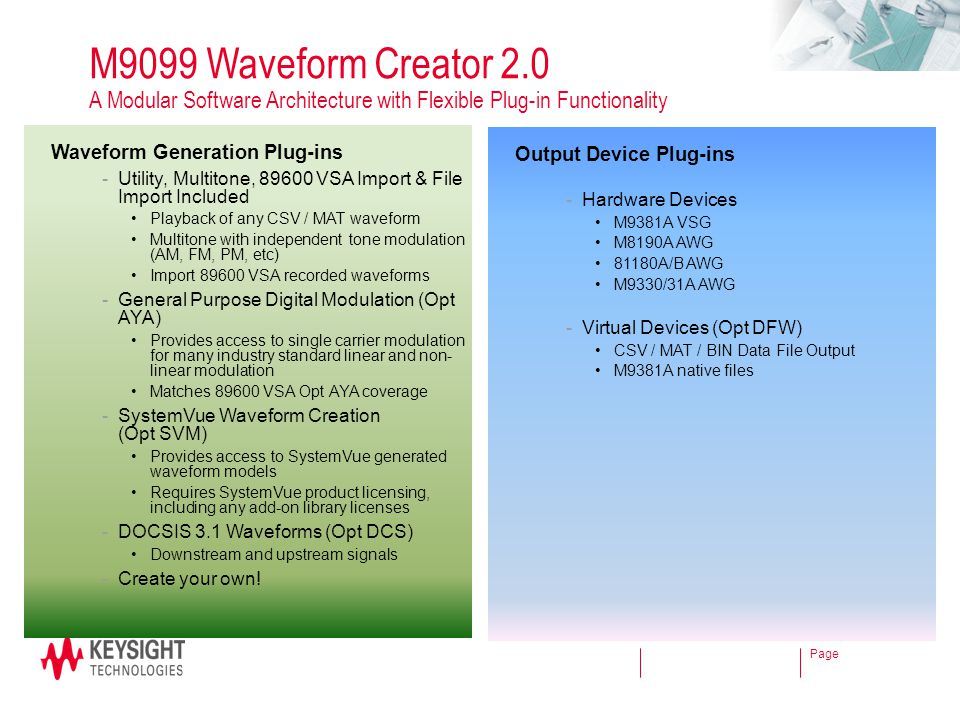 Page M9099 Waveform Creator 2.0 A Modular Software Architecture with Flexible Plug-in Functionality Waveform Generation Plug-ins -Utility, Multitone,