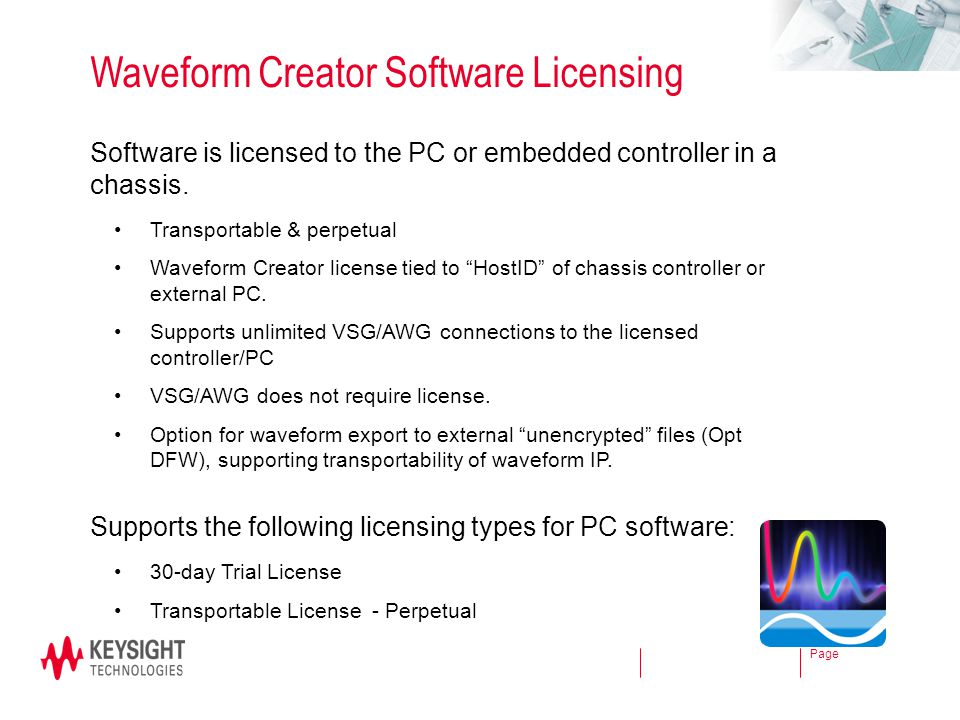 Page Waveform Creator Software Licensing Software is licensed to the PC or embedded controller in a chassis. Transportable & perpetual Waveform Creato