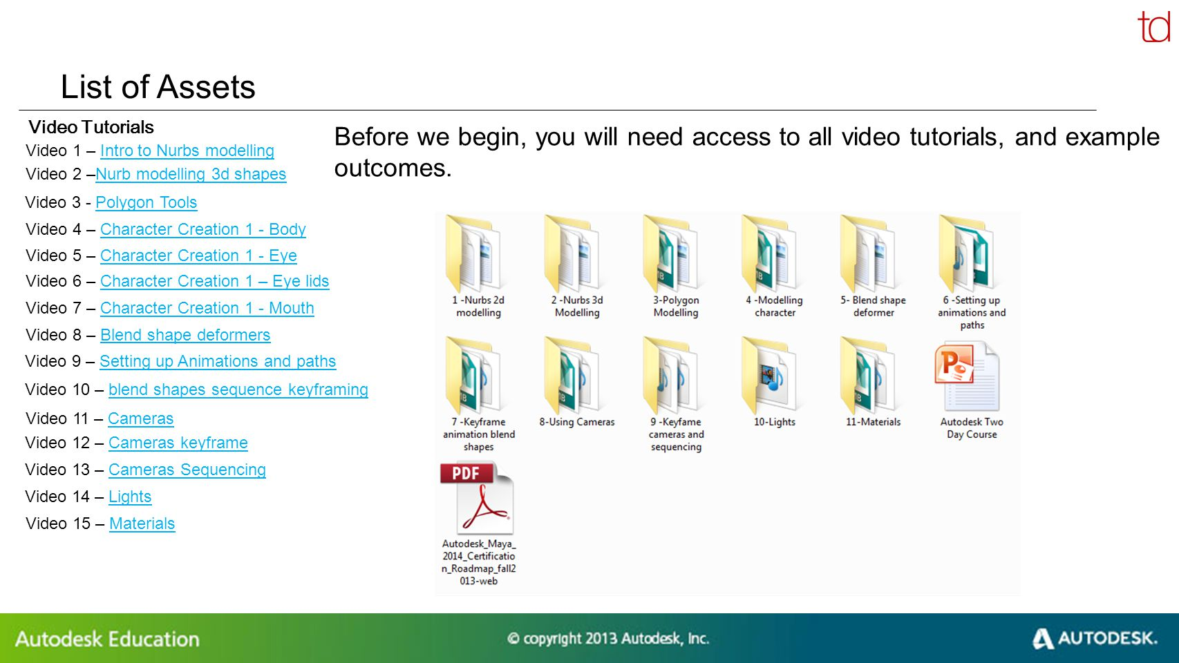 © 2012 Autodesk List of Assets Video Tutorials Before we begin, you will need access to all video tutorials, and example outcomes. Video 1 – Intro to