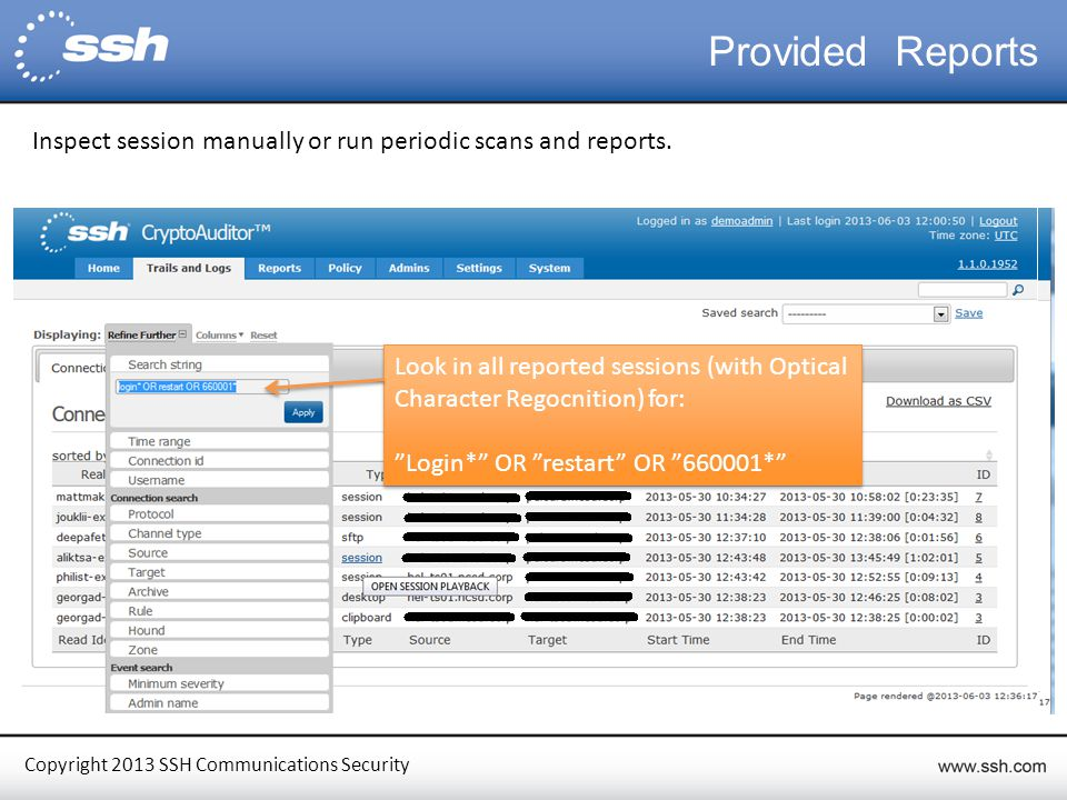 Copyright 2013 SSH Communications Security Provided Reports Inspect session manually or run periodic scans and reports.